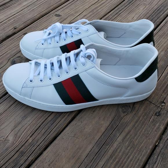 baa2ff9e009 Gucci Other - Gucci Ace Stripe White Leather Sneaker 9M men s